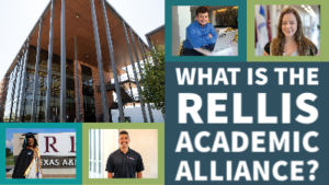 A photo grid showcasing four students and the entrance to the Academic Complex. 'What is the RELLIS Academic Alliance?""